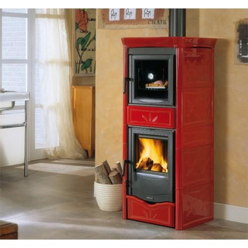 La Nordica Extraflame Holzöfen Kaminofen LA NORDICA NICOLETTA FORNO EVO 9,1 kW mit Keramikverkleidung und Backfach 7116380
