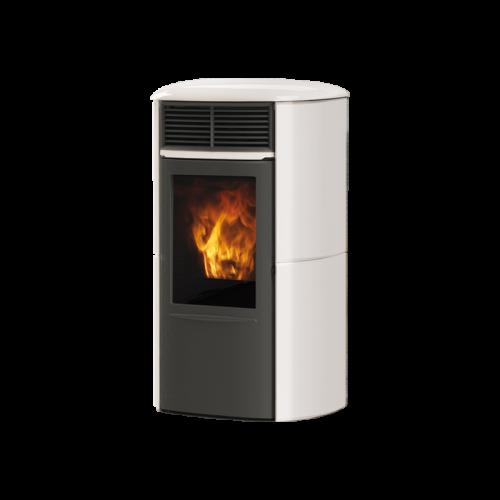 Pelletsöfen Edilkamin ARIS UP PLUS KERAMIK 8 kW Farbe Grau, Pergament, Cremeweiß und Bordeaux