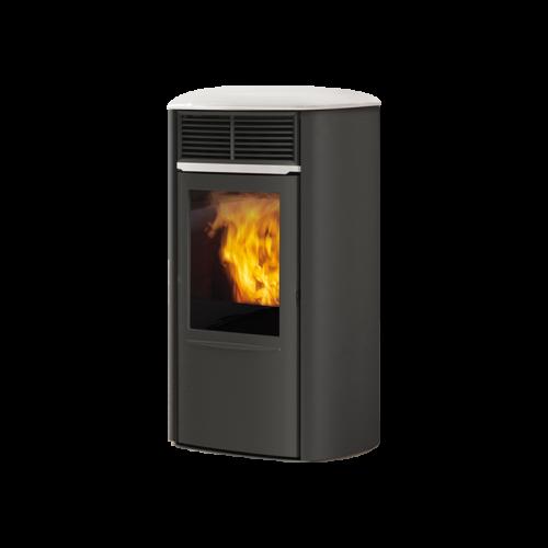 Pelletsöfen Edilkamin ARIS UP PLUS STAHL 8 kW Farbe Grau, Pergament, Cremeweiß und Bordeaux