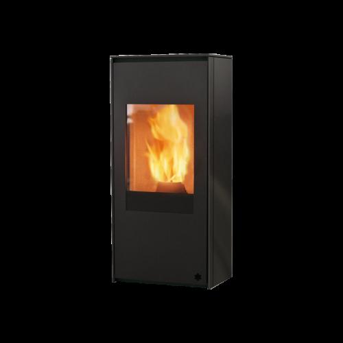 Pelletsöfen Edilkamin LOU AIR TIGHT 8 kW mit anthrazitgrauem und schwarzem Siebdruckglas.