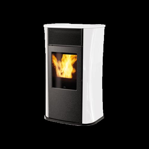 Edilkamin Pelletsöfen MYA ECO GLAS 6.3 kW mit Seitenwänden aus schwarzem oder weißem Glas bzw MYA ECO GLAS