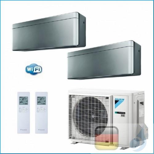 Daikin Klimaanlagen Duo Split Wand Gas R-32 Serie Stylish Silbernen 7000+7000 Btu WiFi FTXA20AS FTXA20AS 2MXM40M A+++/A++ FTX...