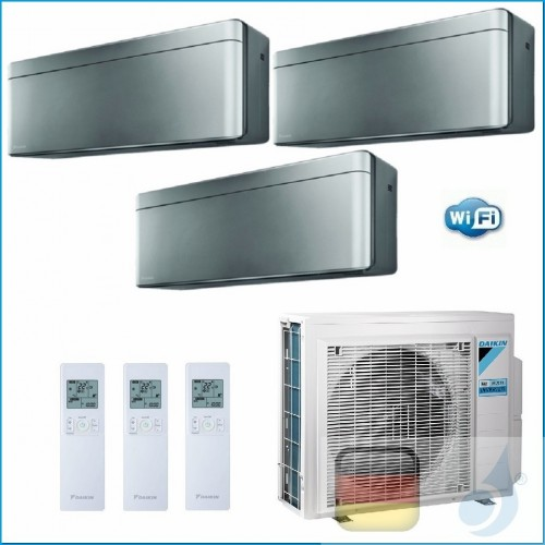 Daikin Klimaanlagen Trio Split Wand R-32 Stylish Silbernen 9+9+9 Btu WiFi FTXA25AS +FTXA25AS +FTXA25AS 3MXM52N A+++/A++ A25AS...