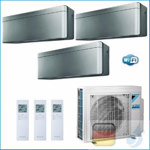 Daikin Klimaanlagen Trio Split Wand R-32 Stylish Silbernen 9+9+18 Btu WiFi FTXA25AS +FTXA25AS +FTXA50AS 3MXM68N A++/A+ 2xFTXA...