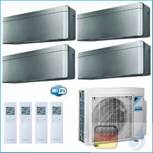 Daikin Klimaanlagen Quadri Split R-32 Stylish Silbernen 9+9+9+15 WiFi FTXA25AS FTXA25AS FTXA25AS FTXA42AS 4MXM80N A++/A++ 3xF...