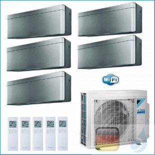Daikin Klimaanlagen Penta Split Wand R-32 Stylish Silbernen 7+9+9+9+12 Btu WiFi FTXA20AS +FTXA25AS 5MXM90N A++/A+ A20AS+3xA25...
