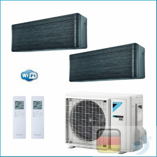 Daikin Klimaanlagen Duo Split Wand Gas R-32 Serie Stylish Blackwood 7000+9000 Btu WiFi FTXA20AT FTXA25AT 2MXM40M A+++/A++ FTX...