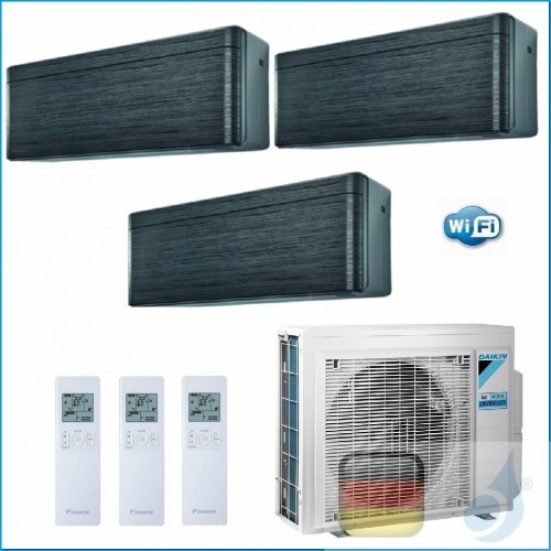 Daikin Klimaanlagen Trio Split Wand R-32 Stylish Blackwood 7+7+18 Btu WiFi FTXA20AT +FTXA20AT +FTXA50AT 3MXM52N A++/A++ 2xFTX...