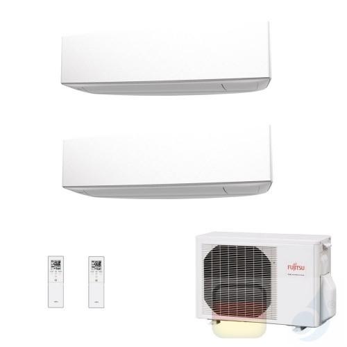 Fujitsu Duo Split 7+12 ASYG07KETA ASYG12KETA AOYG18KBTA2 Klimaanlage 2.0+3.5 kW KE Weiß R-32 WiFi OPT 7000+12000 Btu ASYG-KET...