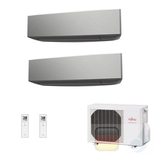 Fujitsu Duo Split 7+9 ASYG07KETA-B ASYG09KETA-B AOYG14KBTA2 Klimaanlage 2.0+2.5 kW KE Silbernen R-32 WiFi OPT 7000+9000 Btu A...