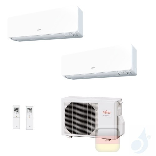 Fujitsu Klimaanlagen Duo Split Wand Serie KG 7000+12000 Btu ASYG07KGTB+ ASYG12KGTB+ AOYG18KBTA2 A+++ A++ 7+12 R-32 WiFi Optio...