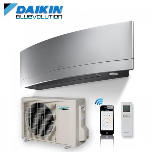 Daikin Klimaanlagen Mono Split R32 9000 BTU FTXJ25MS+RXJ25M Silber 2,5 KW serie Emura FTXJ-MS mit WiFi inverter Wärmepumpe