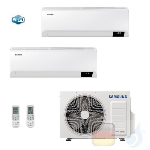 Samsung Klimaanlagen Duo Split Cebu Wi-Fi 7000+12000 Btu + AJ040TXJ2KG/EU R-32 A+++ A++ Stimmenkontrolle WiFi 2.0+3.5 kW AR07...