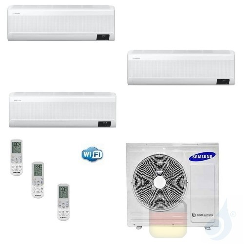 Samsung Klimaanlagen Trio Split WindFree ELITE 9000+9000+9000 Btu + AJ052TXJ3KG/EU R-32 A+++ A+ Stimmenkontrolle WiFi AR09090...