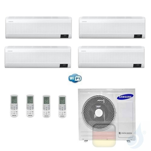 Samsung Klimaanlagen Quadri Split Serie WindFree ELITE 7+9+12+12 Btu + AJ080TXJ4KG/EU R-32 A++ A+ Stimmenkontrolle WiFi AR070...