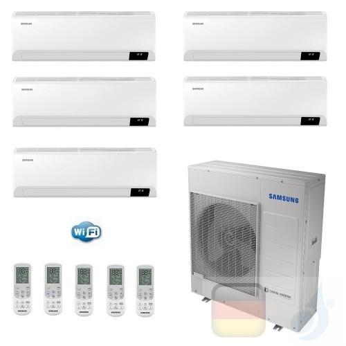 Samsung Klimaanlagen Penta Split Serie Cebu Wi-Fi 7+7+7+7+7 Btu + AJ100TXJ5KG/EU R-32 A++ A+ Stimmenkontrolle Alexa Google AR...