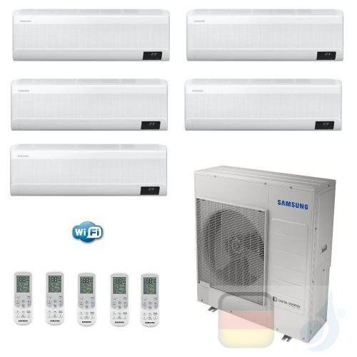 Samsung Klimaanlagen Penta Split Serie WindFree AVANT 9+9+9+9+18 Btu + AJ100TXJ5KG/EU R-32 A++ A+ Stimmenkontrolle WiFi AR090...