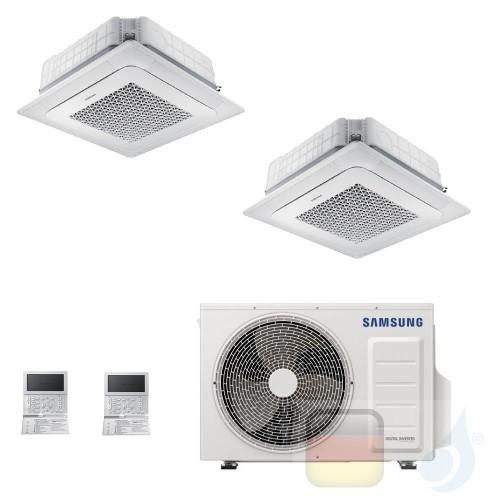 Samsung Klimaanlagen Duo Split Kassettengerät 4 Luftauslässe Mini WindFree 9000+12000 Btu R-32 AJ050TXJ2KG/EU A+++ A++ AJ0912...