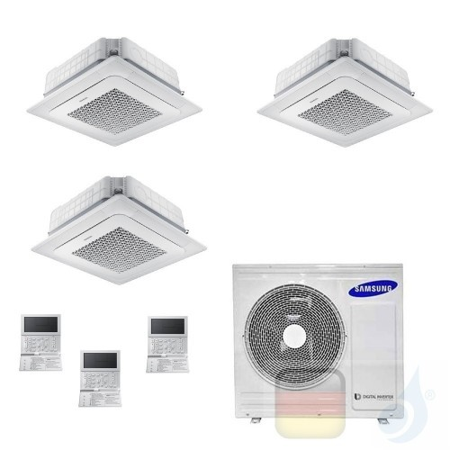 Samsung Klimaanlagen Trio Split Kassettengerät 4 Luftauslässe Mini WindFree 9000+12000+12000 Btu R-32 AJ068TXJ3KG/EU A++ A+ A...
