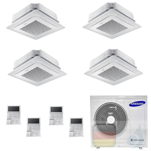 Samsung Klimaanlagen Quadri Split Kassettengerät 4 Luftauslässe Mini WindFree 9+9+12+12 Btu R-32 AJ100TXJ5KG/EU A++ A+ AR0909...