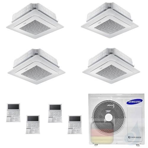 Samsung Klimaanlagen Quadri Split Kassettengerät 4 Luftauslässe Mini WindFree 12+12+12+18 Btu R-32 AJ100TXJ5KG/EU A++ A+ AR12...