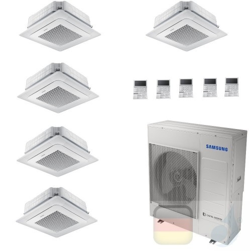 Samsung Klimaanlagen Penta Split Kassettengerät 4 Luftauslässe Mini WindFree 9+9+9+9+9 Btu R-32 AJ100TXJ5KG/EU A++ A+ AR09090...