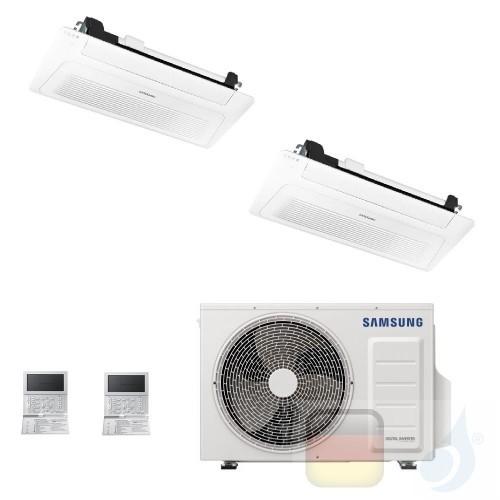 Samsung Klimaanlagen Duo Split Kassettengerät 1 Luftauslass WindFree 9000+12000 Btu R-32 AJ040TXJ2KG/EU A+++ A++ 2.6+3.5 kW A...