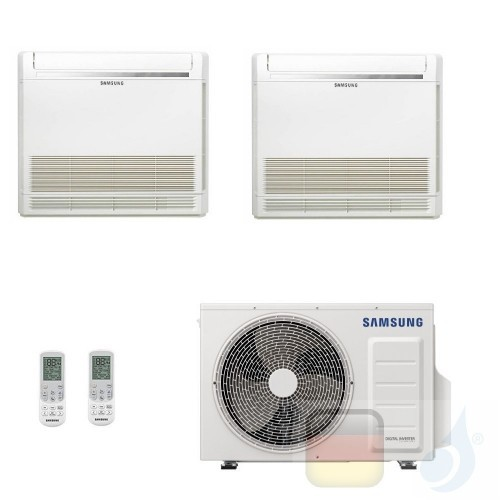 Samsung Klimaanlagen Duo Split Fußboden Console 9000+9000 Btu R-32 AJ050TXJ2KG/EU A+++ A++ 2.6+2.6 kW AJ0909TNJDKGEU+AJ050TXJ...