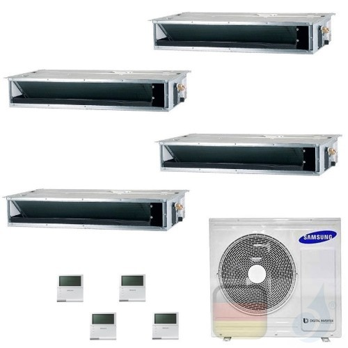 Samsung Klimaanlagen Quadri Split Kanaleinbaugeräte Geringe/Mittlere Prävalenz 9+9+9+12 Btu R-32 AJ080TXJ4KG/EU A++ A+ AR0909...
