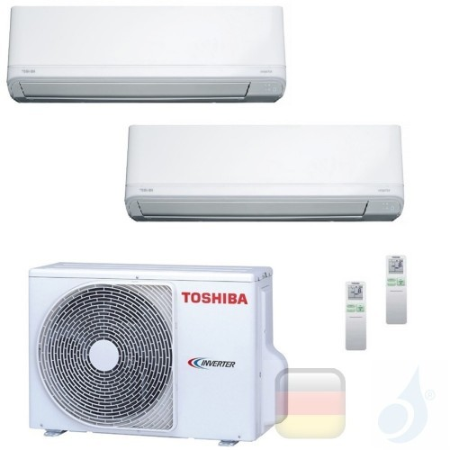 Toshiba Klimaanlagen Duo Split Wand 9000+9000 Btu R-32 Daiseikai Light B10J2KVRG B10J2KVRG 2M18U2AVG A++ A++ 2.5+2.5 kW B10J2...