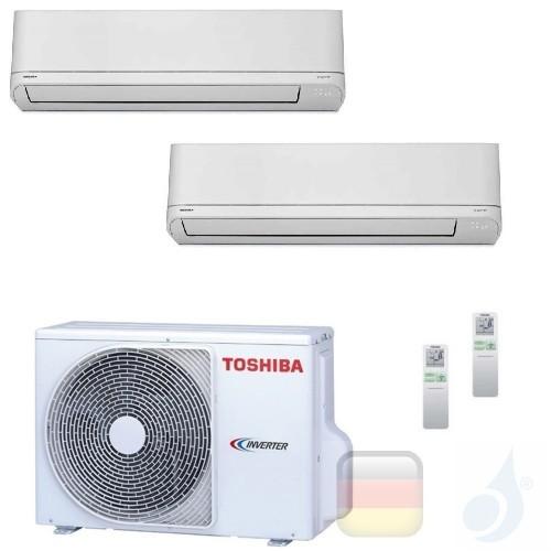 Toshiba Klimaanlagen Duo Split Wand 5000+9000 Btu R-32 Shorai M05PKVSG B10PKVSG 2M10U2AVG A++ A+ 1.5+2.5 kW M05PKVSG+B10PKVSG...