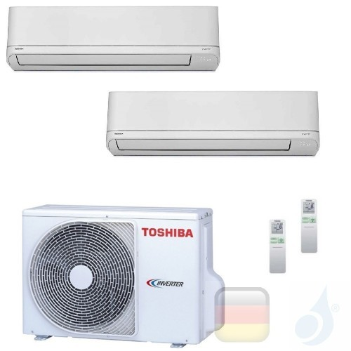 Toshiba Klimaanlagen Duo Split Wand 7000+9000 Btu R-32 Shorai M07PKVSG B10PKVSG 2M14U2AVG A++ A+ 2.0+2.5 kW M07PKVSG+B10PKVSG...
