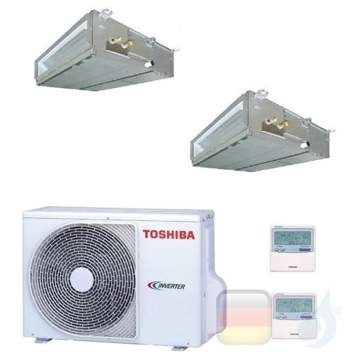 Toshiba Klimaanlagen Duo Split Kanalgerät Slim 60x60 7000+9000 R-32 M07U2DVG M10U2DVG 2M10U2AVG A++ A+ 2.0+2.5 kW M07U2DVG+M1...