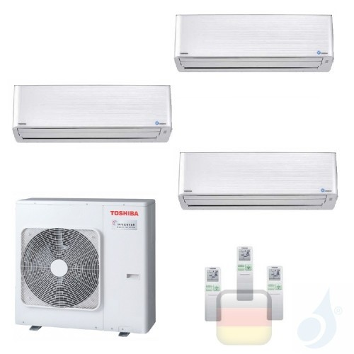 Toshiba Klimaanlagen Trio Split Wand 9000+9000+15000 Btu + RAS-3M26U2AVG-E R-32 Super Daiseikai 9 A++ A++ 2.5+2.5+4.2 kW PKVP...