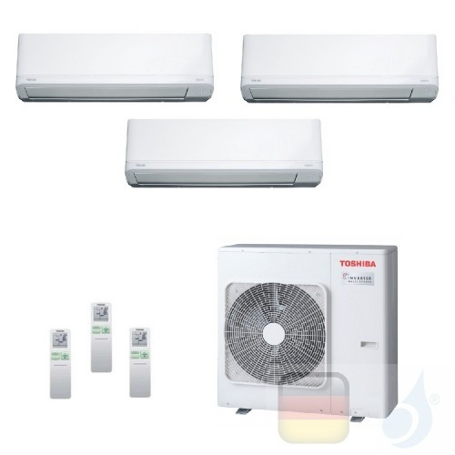 Toshiba Klimaanlagen Trio Split Wand 9000+9000+9000 Btu + RAS-3M18U2AVG-E R-32 Daiseikai Light A++ A+ 2.5+2.5+2.5 kW J2KVRG_9...
