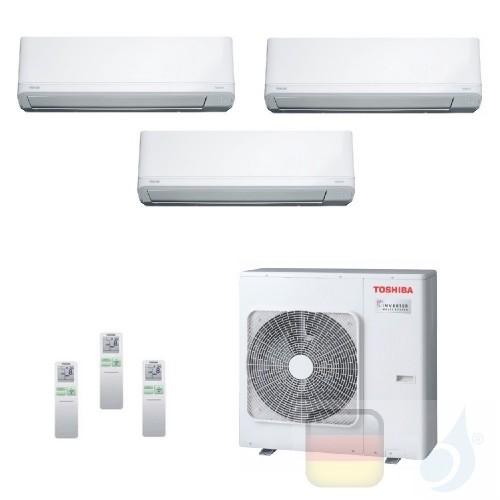 Toshiba Klimaanlagen Trio Split Wand 9000+9000+15000 Btu + RAS-3M18U2AVG-E R-32 Daiseikai Light A++ A++ 2.5+2.5+4.2 kW J2KVRG...