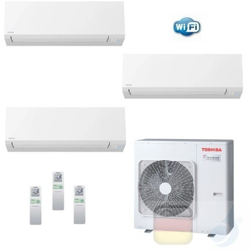 Toshiba Klimaanlagen Trio Split Wand 7000+7000+12000 Btu + RAS-3M18U2AVG-E R-32 Shorai Edge Wifi A++ A+ 2.0+2.0+3.5 kW N4KVSG...