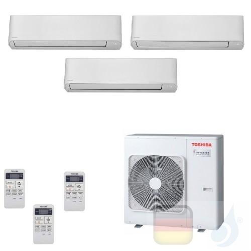 Toshiba Klimaanlagen Trio Split Wand 9000+9000+9000 Btu + RAS-3M18U2AVG-E R-32 Seiya WiFi Optional A++ A+ 2.5+2.5+2.5 kW J2KV...