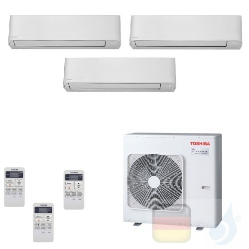 Toshiba Klimaanlagen Trio Split Wand 9000+12000+12000 Btu + RAS-3M18U2AVG-E R-32 Seiya WiFi Optional A++ A+ 2.5+3.5+3.5 kW J2...