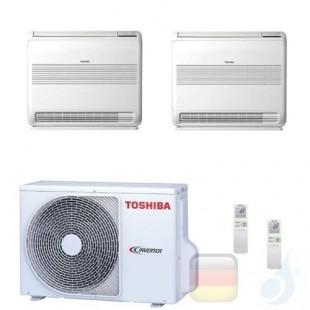 Toshiba Klimaanlagen Duo Split Fußboden Console 18000+18000 Btu + RAS-3M26U2AVG-E R-32 A++ A+ 5.0+5.0 kW B18J2FVG+B18J2FVG+3M...
