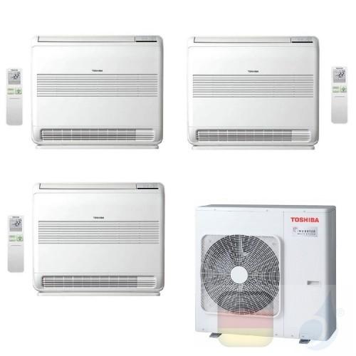 Toshiba Klimaanlagen Trio Split Fußboden Console 9000+9000+12000 Btu + RAS-3M26U2AVG-E R-32 A++ A+ 2.5+2.5+3.5 kW PKVPG_9+9+1...