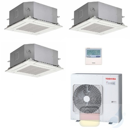 Toshiba Klimaanlagen Trio Split Kassettengerät 60x60 9000+9000+12000 Btu + RAS-3M18U2AVG-E R-32 A++ A+ 2.5+2.5+3.5 kW PKVPG_9...
