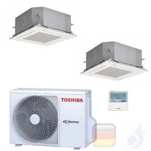 Toshiba Klimaanlagen Duo Split Kassettengerät 60x60 12000+15000 Btu + RAS-3M26U2AVG-E R-32 A++ A+ 3.5+4.2 kW M13U2MUVG+M16U2M...