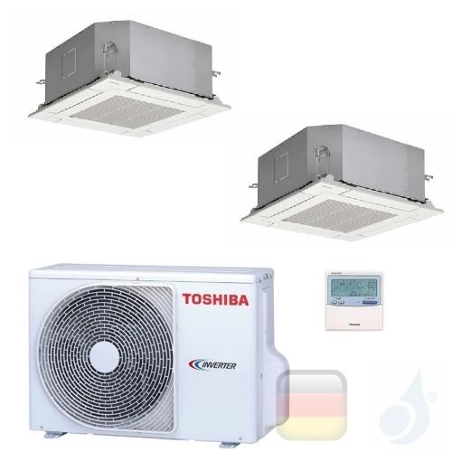 Toshiba Klimaanlagen Duo Split Kassettengerät 60x60 15000+15000 Btu + RAS-3M26U2AVG-E R-32 A++ A+ 4.2+4.2 kW M16U2MUVG+M16U2M...