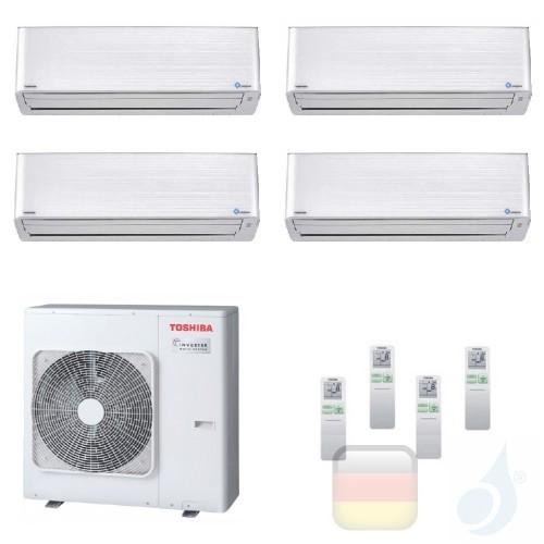 Toshiba Klimaanlagen Quadri Wand 9000+9000+9000+15000 Btu + RAS-4M27U2AVG-E R-32 Super Daiseikai 9 A+ A+ 2.5+2.5+2.5+4.2 kW P...