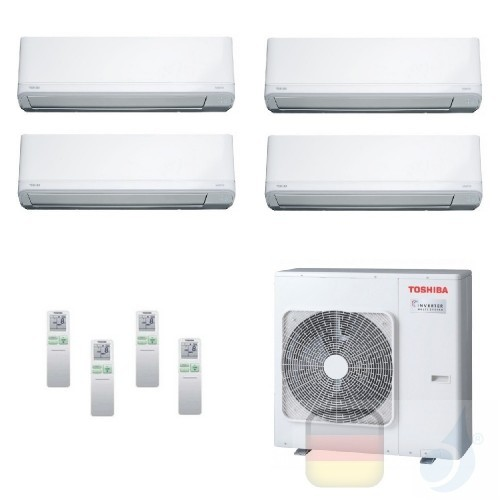 Toshiba Klimaanlagen Quadri Split Wand 9000+9000+9000+24000 Btu + RAS-4M27U2AVG-E R-32 Daiseikai Light A++ A+ 2.5+2.5+2.5+7.1...