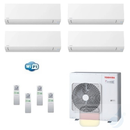 Toshiba Klimaanlagen Quadri Split Wand 9000+9000+9000+15000 Btu + RAS-4M27U2AVG-E R-32 Shorai Edge Wifi A+ A+ 2.5+2.5+2.5+4.2...