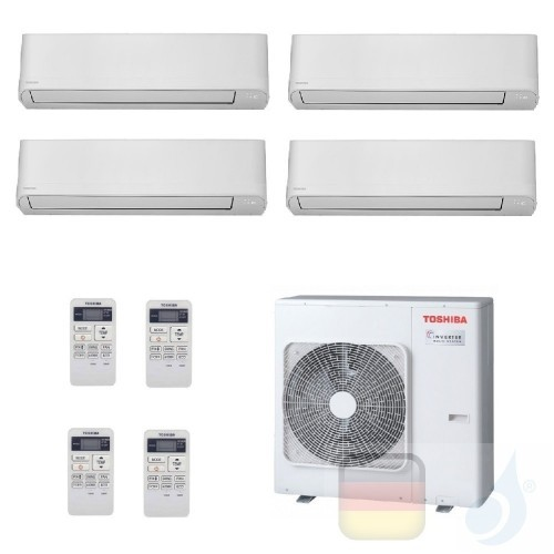 Toshiba Klimaanlagen Quadri Split Wand 7000+7000+7000+9000 Btu + RAS-4M27U2AVG-E R-32 Seiya WiFi Opt. A+ A+ 2.0+2.0+2.0+2.5 k...