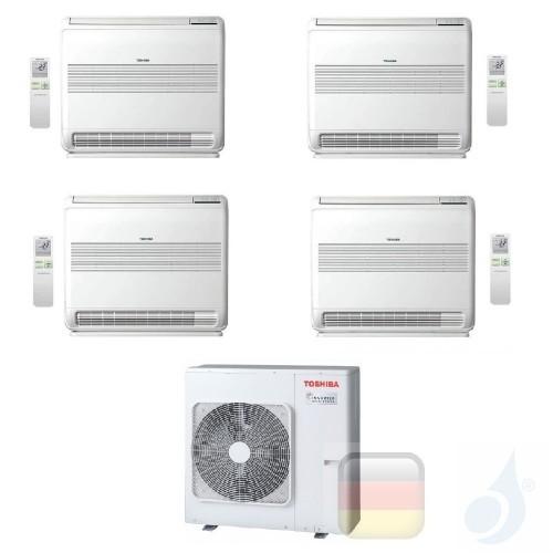 Toshiba Klimaanlagen Quadri Split Fußboden Console 9000+9000+9000+9000 Btu + RAS-4M27U2AVG-E R-32 A+ A+ 2.5+2.5+2.5+2.5 kW J2...