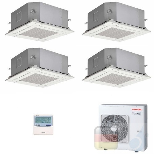 Toshiba Klimaanlagen Quadri Split Kassettengerät 60x60 9000+9000+9000+9000 Btu + RAS-4M27U2AVG-E R-32 A+ A+ 2.5+2.5+2.5+2.5 k...